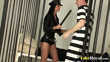 Pornstars dress as police video Sexy police officer black angelika inspects a prisoner
