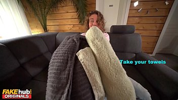 FAKE FAMILY Step Sister and Her Friend Massaged Then Fucked on Couch by Step Brother