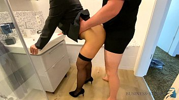 female boss bathroom quickie before work - business bitch