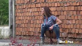 Outdoor Peeing With Hot Brunette
