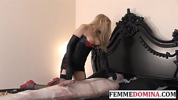 Femdom gives mummification treatment to pathetic submissive