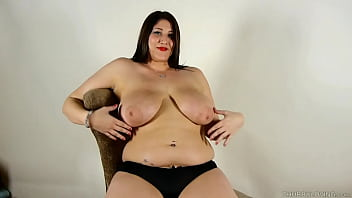 Cute chubby chick talks dirty about her beautiful big tits