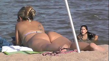 My mother is very hot on the beach