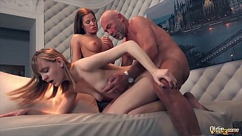The princesses fuck hard with their grandfather with his cock raised