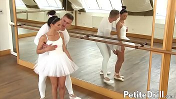 Tiny Keira in ballerina outfit impaled on throbbing dick