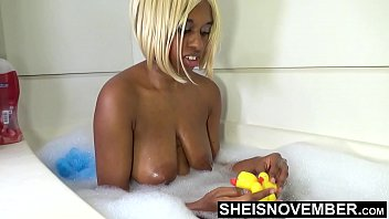 Msnovember Innocent Brown Skin Black Girl Washing Up In Bathtub With Rubber Ducky Big Areolas On Natural Boobs Hangers And Dark Nipples Sheisnovember HD