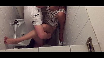 Tinder Couple can't wait until they are home and so they are fucking in the public toilet of a restaurant - caught on hidden camera
