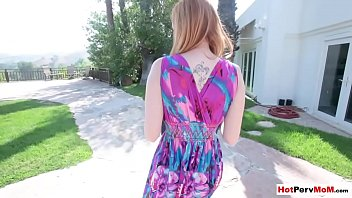 Stepson fucks his busty redhead MILF stepmother outdoor thumbnail