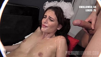 PremiumBukkake - Kate Rich swallows 44 big loads in gangbang bukkake