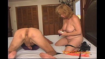 Granny lubed with cum clip - Shes a ball busting strap-on granny