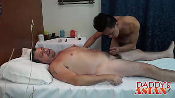 Young Asian bent over and barebacked