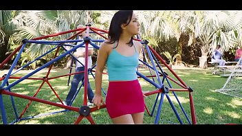Horny brunette teen fucked on a playground