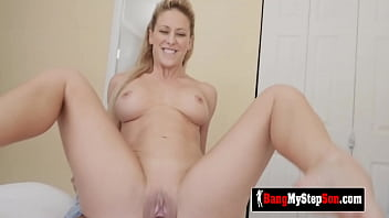 MATURE PERV teases husband's son to LOAD her pussy with his CUM