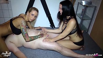 CFNM Femdom Handjob for Ugly Guy by two German Teen