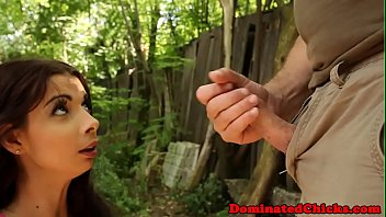Handcuffed submissive fucked outdoors