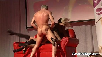 Sex on stage nyc - Threesome fuck on public show stage