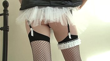 Not your everyday French Maid: a Big Tits Fishnet Feast to the Eyes