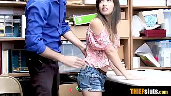 Hot latina teen shoplifter busted and gets fucked hard