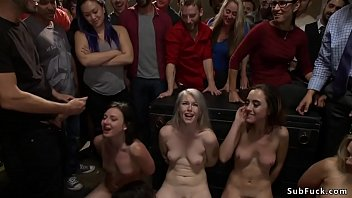 Four anal sluts banged in public orgy