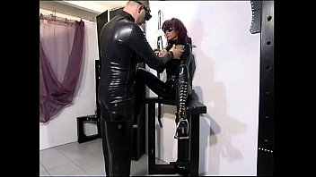 Girl in latex Mighty master drilling a slave girl
