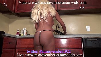 I Caught Msnovember In Her G-String Cleaning Half Naked In The Kitchen in Skimpy Undies Before Spreading Open Her Juicy Ass Butt And Dropping Her Fat Ebony Titties on Sheisnovember