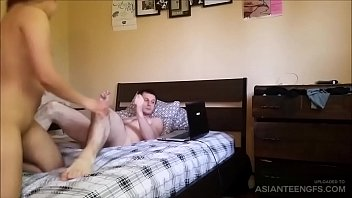 Chubby Asian GF sucks and rides cock on camera