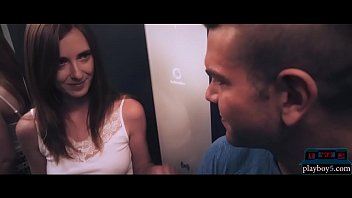 MILF redhead meets a stranger in elevator and they fuck thumbnail