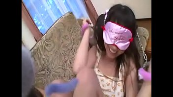 2 Sexy Asian Girls in their underwear playing with blindfolds and handcuffs