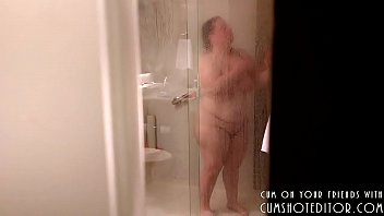 Spying On Chubby Coworker In Hotel's Shower