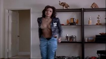 Angelina Jolie taking off her clothes and getting into her panties and bra