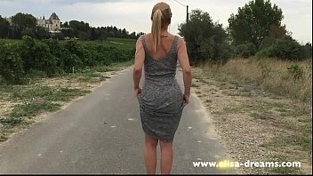 Eclipse flash strip Strip tease and flashing nude on the road