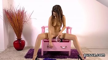 European sweetie enjoys pussy pump and crams fat vibro in hole