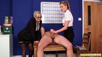 Babes sucking cfnm dick at the office