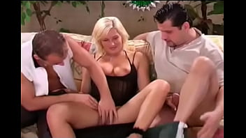 German Blonde MILF Does Two Cocks On Couch With Sex