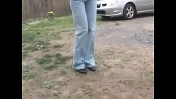 Bursting To Pee, Sexy Lady Can't Hold It Anymore In Front of Her Neighbour