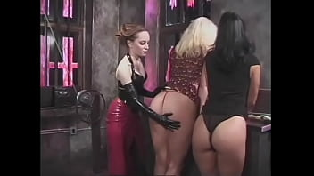 The slutty mistress punishes her busty maids and hangs clamps on their nipples