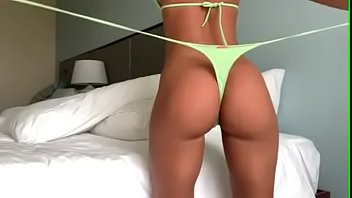 Pussy grinding video clips Stunning brunette with beautiful big round ass wearing tight neon green string thong and giving herself a wedgie - for this clip in hd and the very best wedgie babes available visit patreon.com/wedgieclub for more