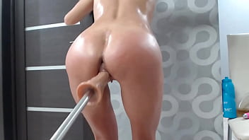 Amateur Teen gets Fucking Machine and Fingering Ass & Body Oil Orgasm HD 10 min