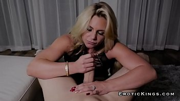 Milf devours hard cock while her husband is watching