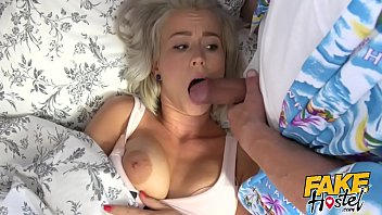 Fake Hostel - Freckle faced young blonde girl with pert nice ass and big red nipples and big natural tits creeped on the fucked hard and rough in her room rimming and great sex
