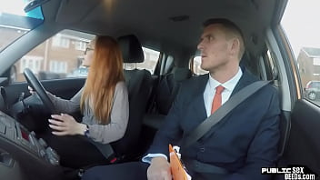 Public ginger babe doggystyled in car exam