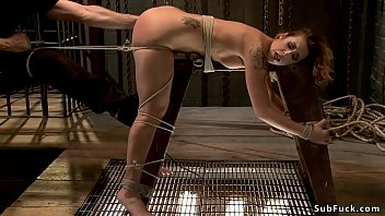 Ass hooked babe in tight bondage