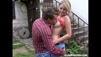 Busty teen suck and ride prick outdoors