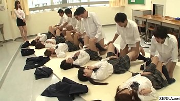 Future Japan mandatory sex in school featuring many virgin schoolgirls having missionary sex with classmates to help raise the population in HD with English subtitles