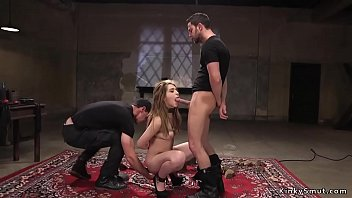 Masters giving rough slave training to brunette