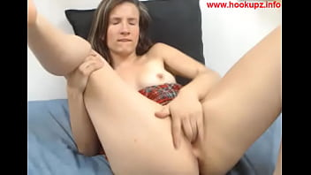 Horny chick fingering her pussy on webcam