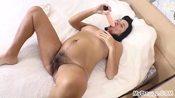 Can Nina Fit This Huge Dildo in Her Unshaved Pussy?