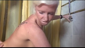 Young a shy blonde girl try pissing in the bathroom