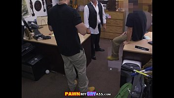 Threesome in the pawnshop with a horny bridesgroom