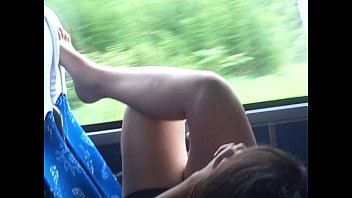 Hot white thighs on the bus and the little foot (1)